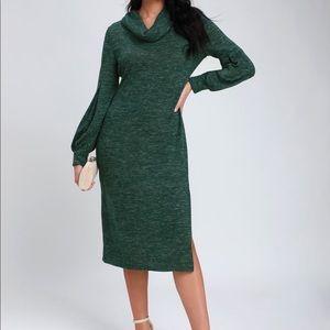 🆕LULUS Green Cowl Neck Midi Sweater Dress NWOT